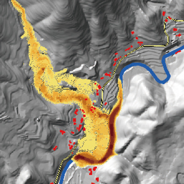GIS×数値解析による土石流シミュレーション